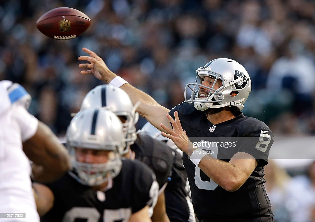 <a gi-track='captionPersonalityLinkClicked' href=/galleries/search?phrase=Matt+Schaub&family=editorial&specificpeople=2210847 ng-click='$event.stopPropagation()'>Matt Schaub</a> #8 of the Oakland Raiders in action against the Detroit Lions during their preseason game at O.co Coliseum on August 15, 2014 in Oakland, California.