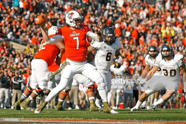 Matt Schilz of the Bowling Green Falcons throws a pass during the second quarter against the Kent State Golden Flashes on November 17 2012 at Doyt...