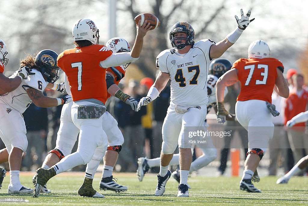Matt Schilz #7 of the Bowling Green Falcons throws the ball past Mark Fackler #47 of the Kent State Golden Flashses on November 17, 2012 at Doyt Perry Stadium in Bowling Green, Ohio.