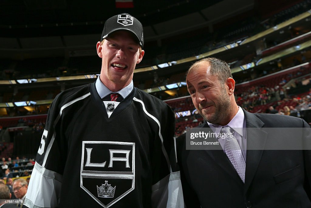 Matt Schmalz, 134th overall pick by the Los Angeles Kings, reacts during the 2015 NHL Draft at BB&T Center on June 27, 2015 in Sunrise, Florida.