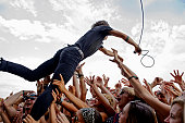 Matt Schultz of Cage The Elephant performs at the 2015 Forecastle festival at Waterfront Park on July 17 2015 in Louisville Kentucky