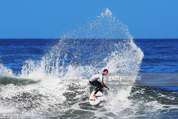 Matt Scorringe of Whangamata competes in the Open Men's Quarter Finals during the New Zealand Surf Nationals at Piha Beach on January 15 2015 in...