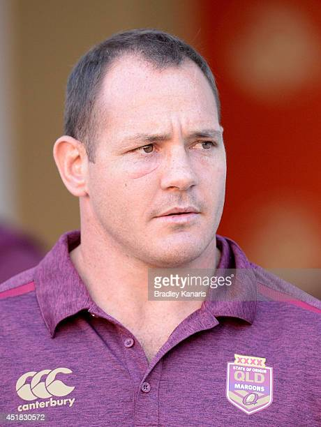 Matt Scott is seen watching on during a Queensland Maroons State of Origin captain's run at Suncorp Stadium on July 8 2014 in Brisbane Australia