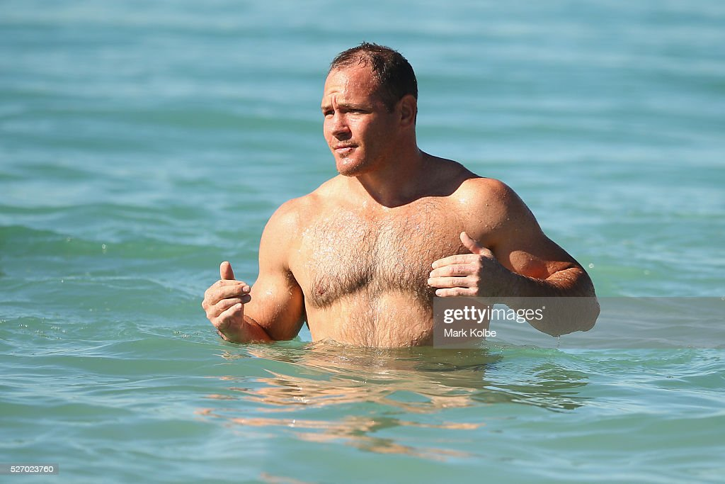 Matt Scott looks on during the Australia Kangaroos Test team recovery session at Coogee Beach on May 2, 2016 in Sydney, Australia.