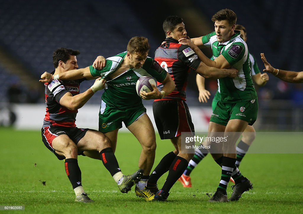 <a gi-track='captionPersonalityLinkClicked' href=/galleries/search?phrase=Matt+Scott+-+Rugby+Union+Player&family=editorial&specificpeople=15066775 ng-click='$event.stopPropagation()'>Matt Scott</a> of Edinburgh tackles Alex Lewington of London Irish during the European Rugby Challenge Cup match between Edinburgh Rugby and London Irish at Murrayfield Stadium on December 18, 2015 in Edinburgh, Scotland.