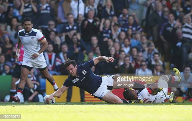 Matt Scott of Scotland scores his teams fourth try during the 2015 Rugby World Cup Pool B match between Scotland and USA at Elland Road on September...