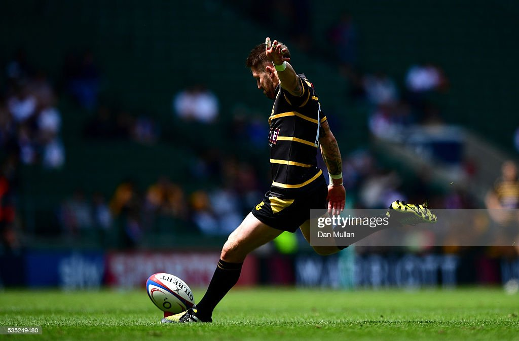 Matt Shepherd of Cornwall kicks a conversion during the 2016 Bill Beaumont Cup Final between Cornwall and Cheshire at Twickenham Stadium on May 29, 2016 in London, England.