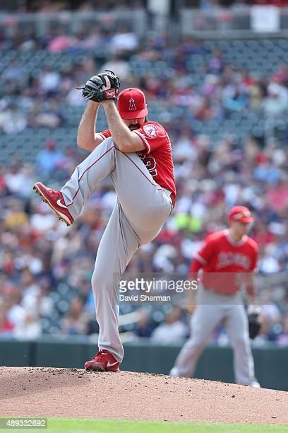 Matt Shoemaker of the Los Angeles Angels delivers a pitch in the first inning against the Minnesota Twins at Target Field on September 20 2015 in...