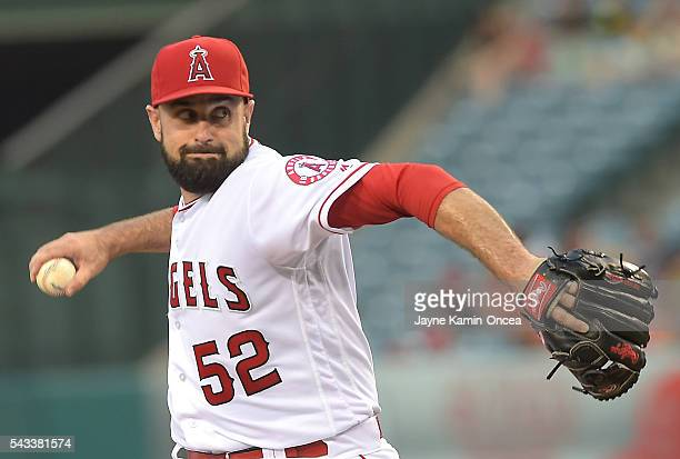 Matt Shoemaker of the Los Angeles Angels in the first inning of the game against the Houston Astros at Angel Stadium of Anaheim on June 27 2016 in...