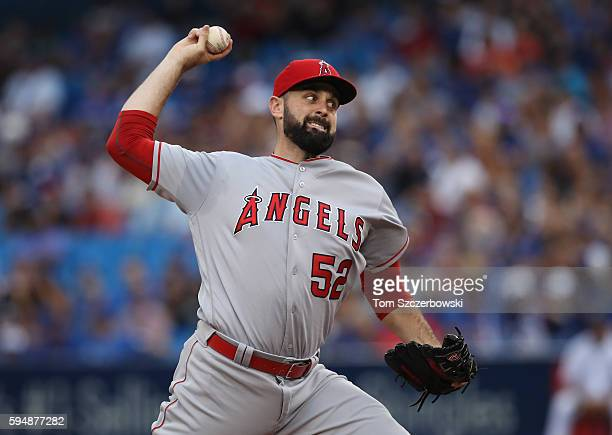 Matt Shoemaker of the Los Angeles Angels of Anaheim delivers a pitch in the first inning during MLB game action against the Toronto Blue Jays on...
