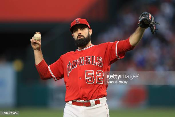 Matt Shoemaker of the Los Angeles Angels of Anaheim looks on after giving up a triple to Rob Refsnyder of the New York Yankees during the second...