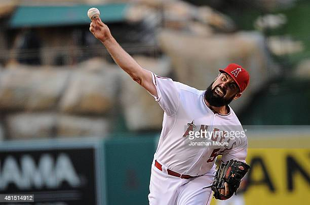 Matt Shoemaker of the Los Angeles Angels of Anaheim pitches against the Minnesota Twins at the bottom of the first inning at Angel Stadium of Anaheim...