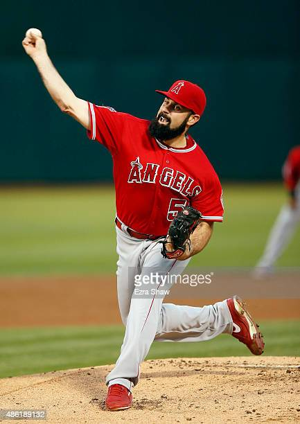 Matt Shoemaker of the Los Angeles Angels of Anaheim pitches against the Oakland Athletics in the first inning at Oco Coliseum on September 1 2015 in...