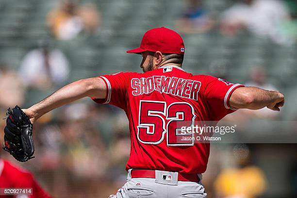 Matt Shoemaker of the Los Angeles Angels of Anaheim pitches against the Oakland Athletics during the first inning at the Coliseum on April 13 2016 in...