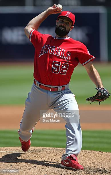 Matt Shoemaker of the Los Angeles Angels of Anaheim pitches against the Oakland Athletics during the game at the Oakland Coliseum on Wednesday April...