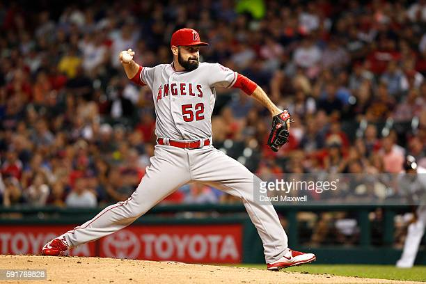 Matt Shoemaker of the Los Angeles Angels of Anaheim pitches against the Cleveland Indians during the first inning at Progressive Field on August 13...