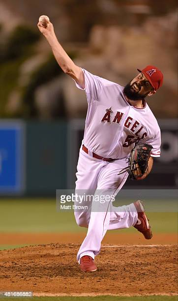 Matt Shoemaker of the Los Angeles Angels of Anaheim pitches during the game against the Minnesota Twins at Angel Stadium of Anaheim on July 21 2015...