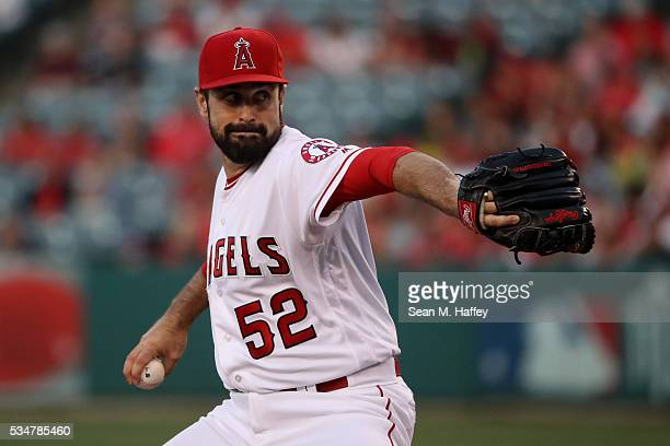 Matt Shoemaker of the Los Angeles Angels of Anaheim pitches during the first inning of a baseball game between the Los Angeles Angels of Anaheim and...