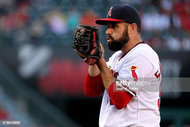 Matt Shoemaker of the Los Angeles Angels of Anaheim pitches during the first inning of a baseball game against the Chicago White Sox at Angel Stadium...