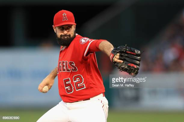 Matt Shoemaker of the Los Angeles Angels of Anaheim pitches during the second inning of a game against the New York Yankees at Angel Stadium of...