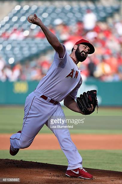 Matt Shoemaker of the Los Angeles Angels of Anaheim pitches in the first inning against the Texas Rangers at Angel Stadium of Anaheim on June 22 2014...