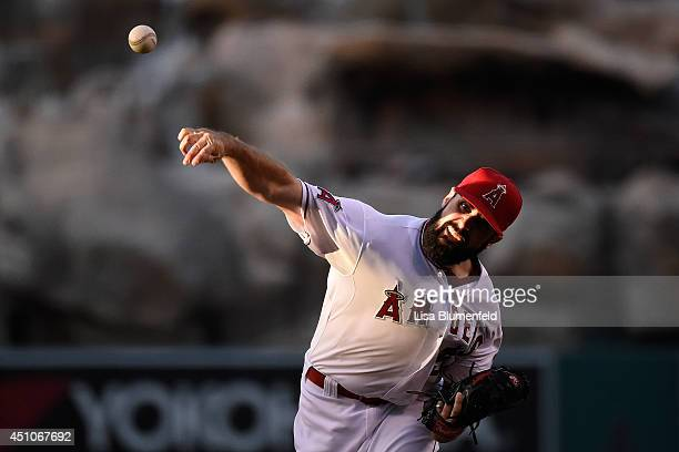 Matt Shoemaker of the Los Angeles Angels of Anaheim pitches in the seventh inning against the Texas Rangers at Angel Stadium of Anaheim on June 22...