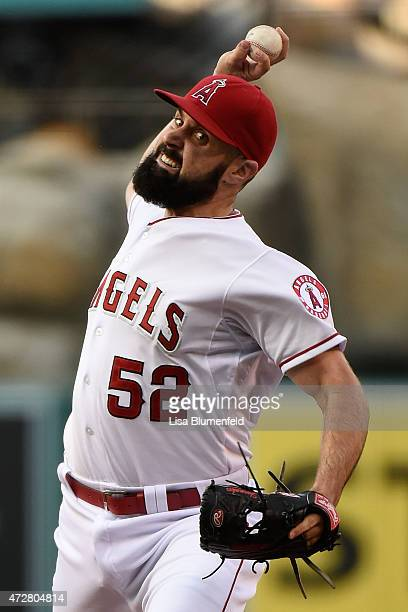 Matt Shoemaker of the Los Angeles Angels of Anaheim pitches in the second inning against the Houston Astros at Angel Stadium of Anaheim on May 9 2015...