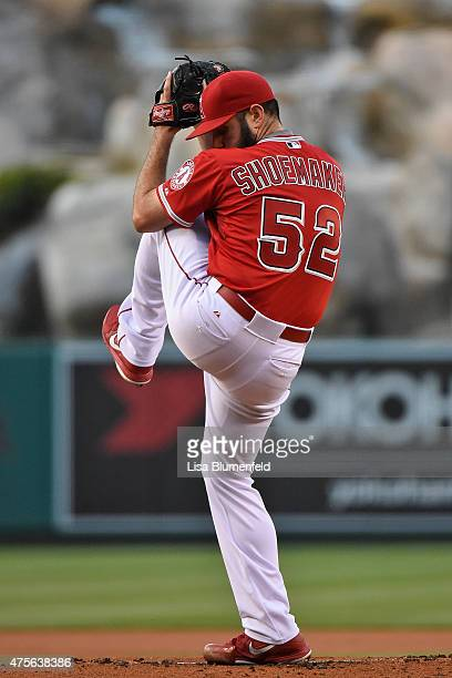 Matt Shoemaker of the Los Angeles Angels of Anaheim pitches in the first inning against the San Diego Padres at Angel Stadium of Anaheim on May 26...