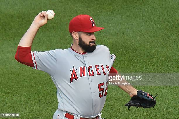 Matt Shoemaker of the Los Angeles Angels of Anaheim pitches in the first inning during a baseball game against the Baltimore Orioles at Oriole Park...