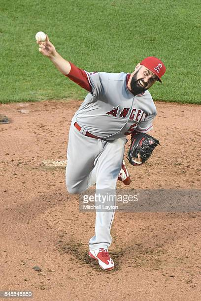 Matt Shoemaker of the Los Angeles Angels of Anaheim pitches in the second inning during a baseball game against the Baltimore Orioles at Oriole Park...