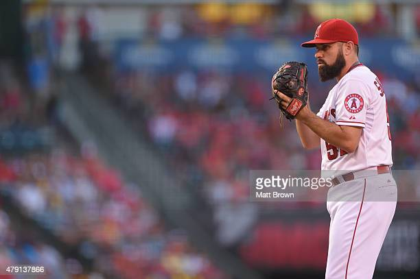 Matt Shoemaker of the Los Angeles Angels of Anaheim prepares to pitch during the second inning of the game against the Seattle Mariners at Angel...