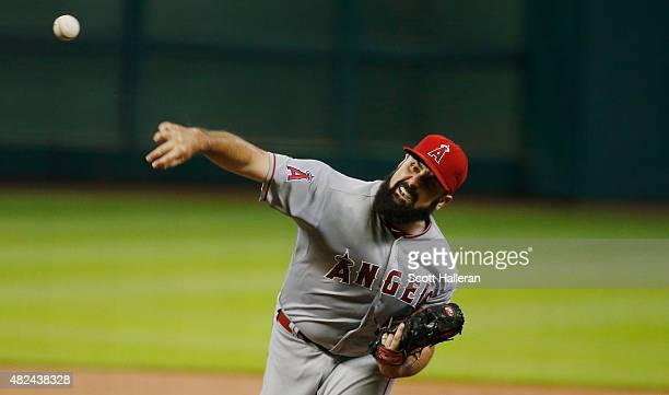 Matt Shoemaker of the Los Angeles Angels of Anaheim throws a pitch in the first inning during their game against the Houston Astros at Minute Maid...