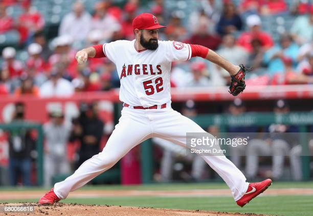 Matt Shoemaker of the Los Angeles Angels of Anaheim throws a pitch in the first inning against the Houston Astros at Angel Stadium of Anaheim on May...