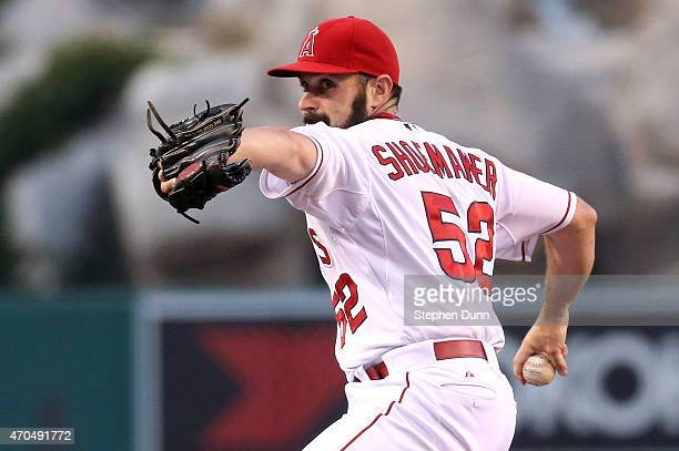 Matt Shoemaker of the Los Angeles Angels of Anaheim throws a pitch against the Oakland Athletics at Angel Stadium of Anaheim on April 20 2015 in...