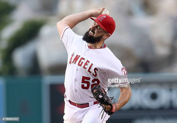 Matt Shoemaker of the Los Angeles Angels of Anaheim throws a pitch against the Seattle Mariners at Angel Stadium of Anaheim on June 26 2015 in...