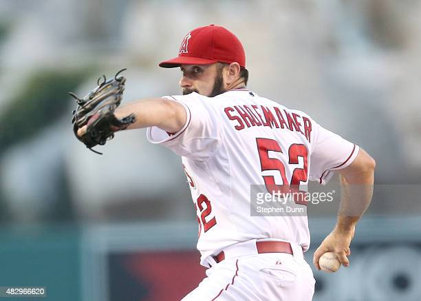 Matt Shoemaker of the Los Angeles Angels of Anaheim throws a pitch against the Cleveland Indians at Angel Stadium of Anaheim on August 4 2015 in...