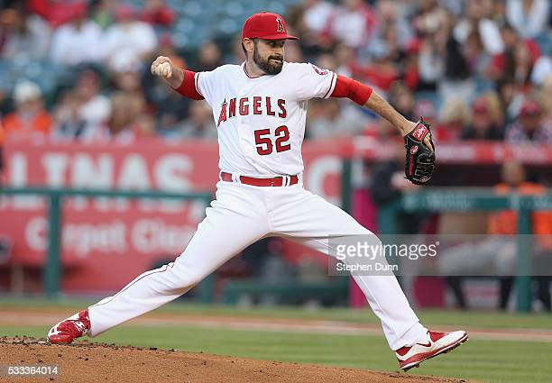 Matt Shoemaker of the Los Angeles Angels of Anaheim throws a pitch against the Baltimore Orioles at Angel Stadium of Anaheim on May 21 2016 in...