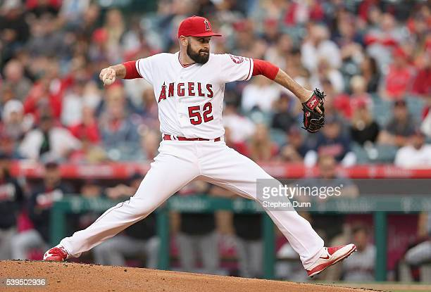 Matt Shoemaker of the Los Angeles Angels of Anaheim throws a pitch against the Cleveland Indians at Angel Stadium of Anaheim on June 11 2016 in...