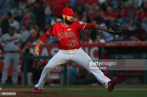 Matt Shoemaker of the Los Angeles Angels of Anaheim throws a pitch against the Minnesota Twins in the first inning at Angel Stadium of Anaheim on...