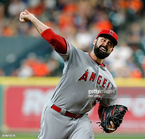 Matt Shoemaker of the Los Angeles Angels of Anaheim throws against the Houston Astros in the first inning at Minute Maid Park on July 22 2016 in...