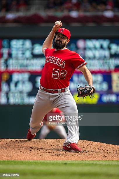 Matt Shoemaker of the Los Angeles Angels pitches against the Minnesota Twins on September 20 2015 at Target Field in Minneapolis Minnesota The Twins...