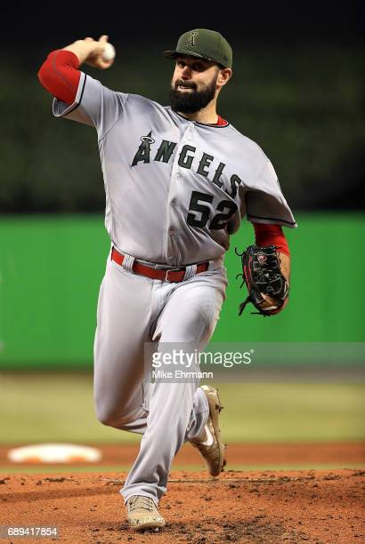 Matt Shoemaker of the Los Angeles Angels pitches during a game against the Miami Marlins at Marlins Park on May 28 2017 in Miami Florida