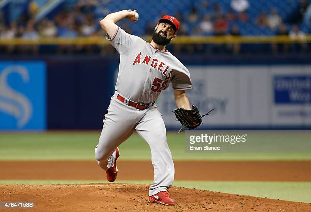 Matt Shoemaker of the Los Angeles Angels pitches during the first inning of a game against the Tampa Bay Rays on June 9 2015 at Tropicana Field in St...
