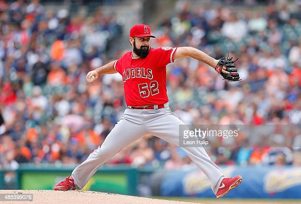Matt Shoemaker of the Los Angeles Angels pitches during the first inning of the game against the Detroit Tigers on August 27 2015 at Comerica Park in...