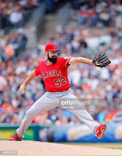 Matt Shoemaker of the Los Angeles Angels pitches during the first inning of the game against the the Detroit Tigers during the first inning of the...