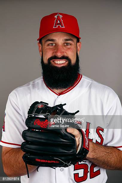 Matt Shoemaker of the Los Angeles Angels poses during a spring training photo day on February 26 2016 in Tempe Arizona