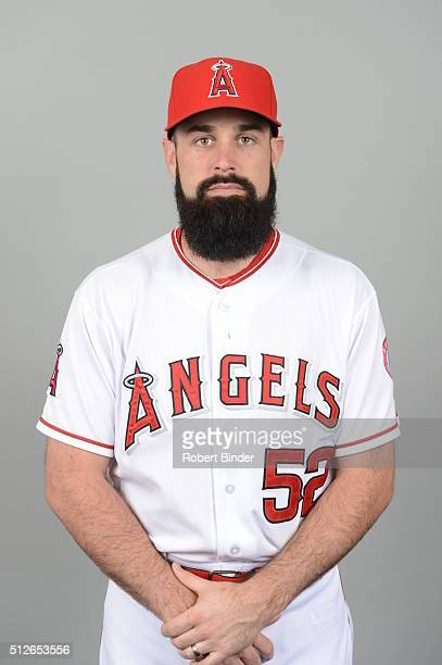 Matt Shoemaker of the Los Angeles Angels poses during Photo Day on Friday February 26 2016 at Tempe Diablo Stadium in Tempe Arizona