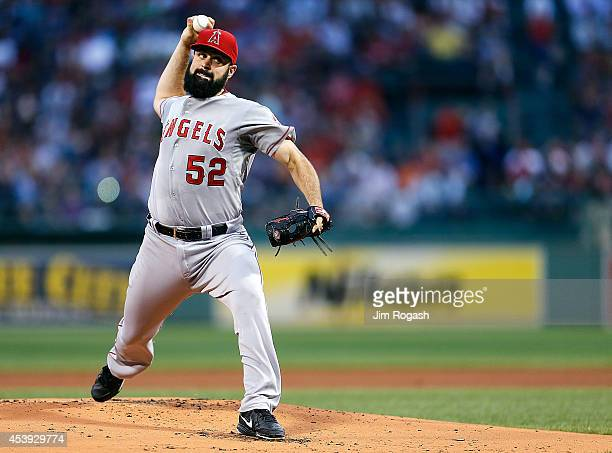 Matt Shoemaker of the Los Angeles Angels throws against the Boston Red Sox in the first inning at Fenway Park on August 21 2014 in Boston...