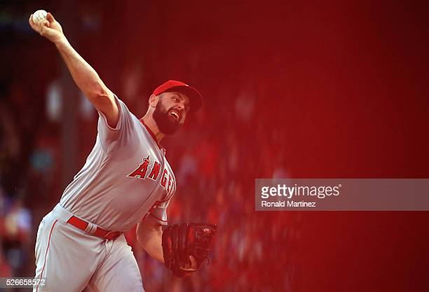 Matt Shoemaker of the Los Angeles Angels throws against the Texas Rangers in the first inning at Globe Life Park in Arlington on April 30 2016 in...
