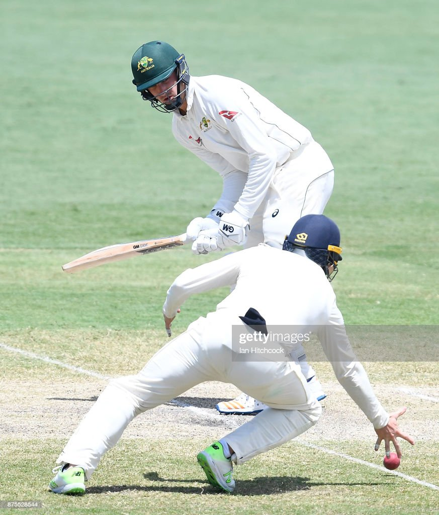 Matt Short of CA XI bats on day 4 of the four day tour match between Cricket Australia XI and England at Tony Ireland Stadium on November 18, 2017 in Townsville, Australia. (Photo by Ian Hitchcock/Getty Images) Images)